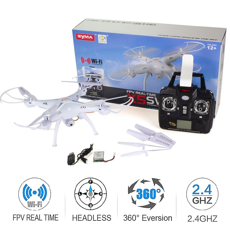 Cheerwing Syma X5SW-V3 WiFi FPV Drone 2 4Ghz 4CH 6-Axis Gyro RC Quadcopter  Drone with Camera, White
